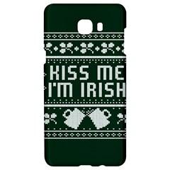 Kiss Me I m Irish Ugly Christmas Green Background Samsung C9 Pro Hardshell Case  by Onesevenart