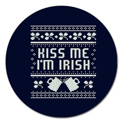 Kiss Me I m Irish Ugly Christmas Blue Background Magnet 5  (round) by Onesevenart