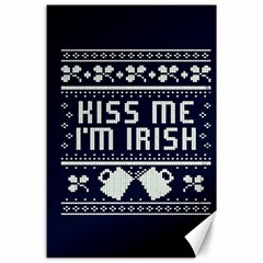 Kiss Me I m Irish Ugly Christmas Blue Background Canvas 24  X 36  by Onesevenart