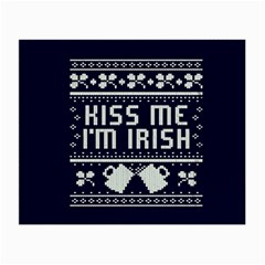 Kiss Me I m Irish Ugly Christmas Blue Background Small Glasses Cloth (2 Side) by Onesevenart