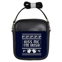 Kiss Me I m Irish Ugly Christmas Blue Background Girls Sling Bags by Onesevenart