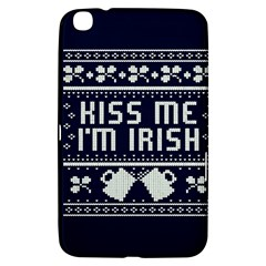 Kiss Me I m Irish Ugly Christmas Blue Background Samsung Galaxy Tab 3 (8 ) T3100 Hardshell Case  by Onesevenart