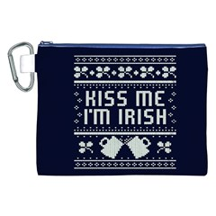 Kiss Me I m Irish Ugly Christmas Blue Background Canvas Cosmetic Bag (xxl) by Onesevenart