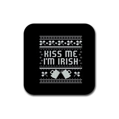 Kiss Me I m Irish Ugly Christmas Black Background Rubber Square Coaster (4 Pack)  by Onesevenart