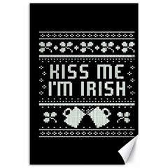 Kiss Me I m Irish Ugly Christmas Black Background Canvas 24  X 36  by Onesevenart
