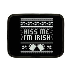 Kiss Me I m Irish Ugly Christmas Black Background Netbook Case (small)  by Onesevenart