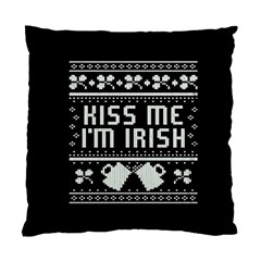 Kiss Me I m Irish Ugly Christmas Black Background Standard Cushion Case (two Sides) by Onesevenart