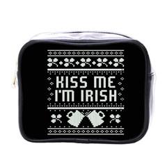 Kiss Me I m Irish Ugly Christmas Black Background Mini Toiletries Bags by Onesevenart
