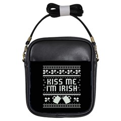 Kiss Me I m Irish Ugly Christmas Black Background Girls Sling Bags by Onesevenart
