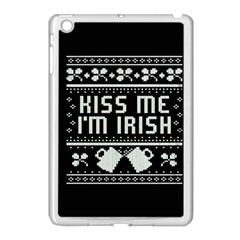 Kiss Me I m Irish Ugly Christmas Black Background Apple Ipad Mini Case (white) by Onesevenart