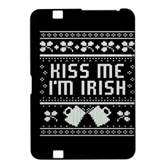 Kiss Me I m Irish Ugly Christmas Black Background Kindle Fire Hd 8 9  by Onesevenart