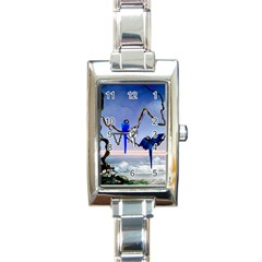 Wonderful Blue  Parrot Looking To The Ocean Rectangle Italian Charm Watch by FantasyWorld7