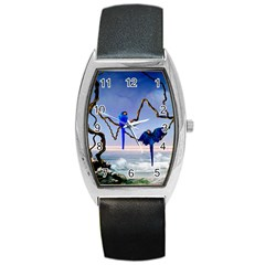 Wonderful Blue  Parrot Looking To The Ocean Barrel Style Metal Watch by FantasyWorld7