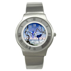 Wonderful Blue  Parrot Looking To The Ocean Stainless Steel Watch by FantasyWorld7