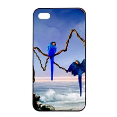 Wonderful Blue  Parrot Looking To The Ocean Apple Iphone 4/4s Seamless Case (black) by FantasyWorld7