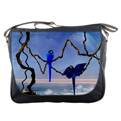 Wonderful Blue  Parrot Looking To The Ocean Messenger Bags by FantasyWorld7
