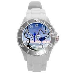 Wonderful Blue  Parrot Looking To The Ocean Round Plastic Sport Watch (l) by FantasyWorld7