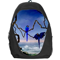 Wonderful Blue  Parrot Looking To The Ocean Backpack Bag by FantasyWorld7
