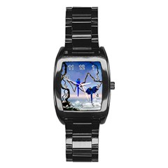 Wonderful Blue  Parrot Looking To The Ocean Stainless Steel Barrel Watch by FantasyWorld7