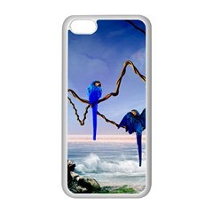 Wonderful Blue  Parrot Looking To The Ocean Apple Iphone 5c Seamless Case (white) by FantasyWorld7