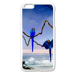 Wonderful Blue  Parrot Looking To The Ocean Apple Iphone 6 Plus/6s Plus Enamel White Case by FantasyWorld7