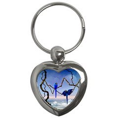 Wonderful Blue  Parrot Looking To The Ocean Key Chains (heart)  by FantasyWorld7