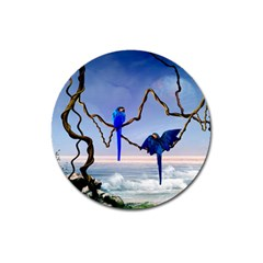 Wonderful Blue  Parrot Looking To The Ocean Magnet 3  (round) by FantasyWorld7