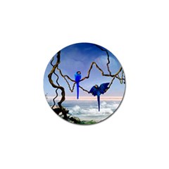 Wonderful Blue  Parrot Looking To The Ocean Golf Ball Marker by FantasyWorld7