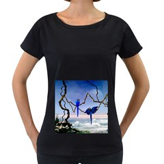 Wonderful Blue  Parrot Looking To The Ocean Women s Loose Fit T Shirt (black) by FantasyWorld7