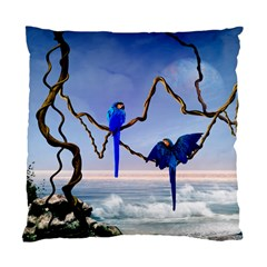 Wonderful Blue  Parrot Looking To The Ocean Standard Cushion Case (two Sides) by FantasyWorld7