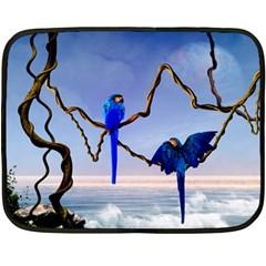 Wonderful Blue  Parrot Looking To The Ocean Fleece Blanket (mini) by FantasyWorld7