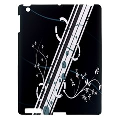 Line Light Leaf Flower Floral Black White Beauty Polka Apple Ipad 3/4 Hardshell Case by Mariart