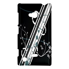 Line Light Leaf Flower Floral Black White Beauty Polka Nokia Lumia 720 by Mariart