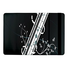 Line Light Leaf Flower Floral Black White Beauty Polka Samsung Galaxy Tab Pro 10 1  Flip Case by Mariart