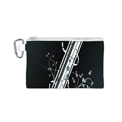 Line Light Leaf Flower Floral Black White Beauty Polka Canvas Cosmetic Bag (s) by Mariart