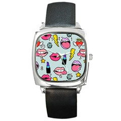 Lipstick Lips Heart Valentine Star Lightning Beauty Sexy Square Metal Watch by Mariart