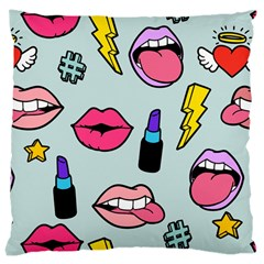 Lipstick Lips Heart Valentine Star Lightning Beauty Sexy Large Cushion Case (two Sides) by Mariart