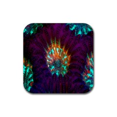 Live Green Brain Goniastrea Underwater Corals Consist Small Rubber Coaster (square)  by Mariart
