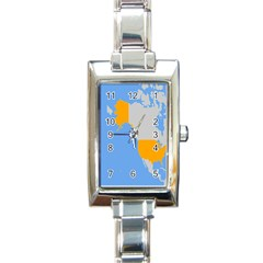 Map Transform World Rectangle Italian Charm Watch by Mariart