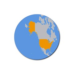 Map Transform World Rubber Coaster (round)