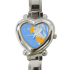 Map Transform World Heart Italian Charm Watch by Mariart