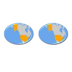 Map Transform World Cufflinks (oval) by Mariart