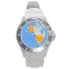 Map Transform World Round Plastic Sport Watch (l) by Mariart