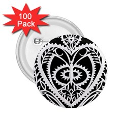 Paper Cut Butterflies Black White 2 25  Buttons (100 Pack)  by Mariart