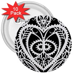 Paper Cut Butterflies Black White 3  Buttons (10 Pack)  by Mariart
