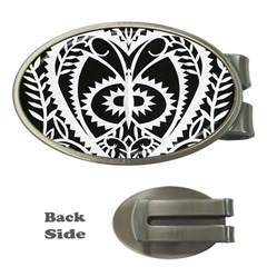 Paper Cut Butterflies Black White Money Clips (oval)  by Mariart