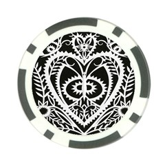 Paper Cut Butterflies Black White Poker Chip Card Guard by Mariart