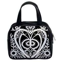 Paper Cut Butterflies Black White Classic Handbags (2 Sides) by Mariart