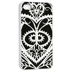 Paper Cut Butterflies Black White Apple Iphone 4/4s Seamless Case (white) by Mariart