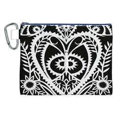 Paper Cut Butterflies Black White Canvas Cosmetic Bag (xxl) by Mariart